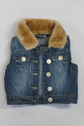 Denim Faux Fur Collar Cut Away Jacket Girls 1-2 years