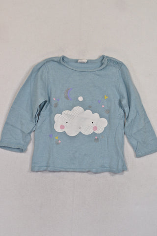 H&M Blue Cloud Glitter Jersey Girls 12-18 months