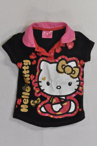 Hello Kitty Black Golf T-shirt Girls 3-4 years