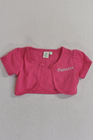 Cropped Pink Disney Princess Cardigan Girls 3-6 months