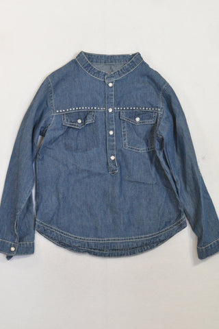 New Woolies Denim Lightweight Jewel Long Sleeve Shirt Girls 5-6 years