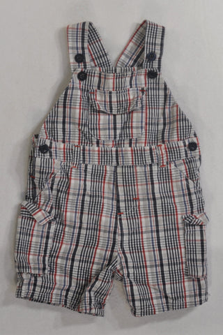 Navy & Red Plaid Dungarees Boys 6-12 months