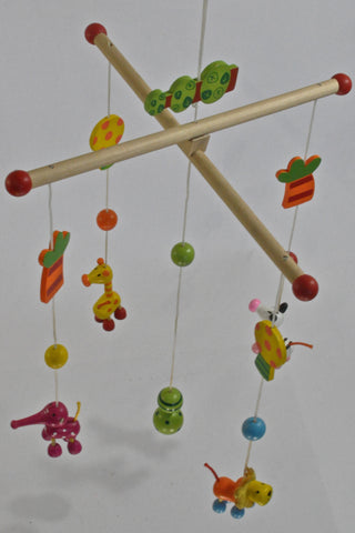 Wooden Colourful Animals Mobile Unisex N-B