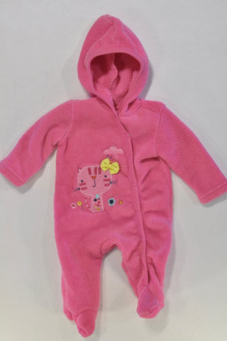 Pink Cat Fleece Onesie Girls N-B