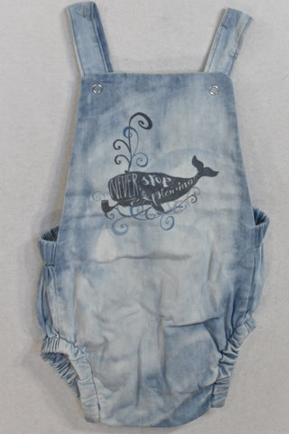 Blue Tie Dye Whale Baby Grow Dungarees Unisex 12-18 months
