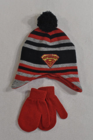 Red Mittens And Super Baby Pom Pom Beanie Boys 12-18 months