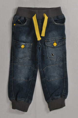 Denim & Yellow Detail Banded Jeans Boys 2-3 years