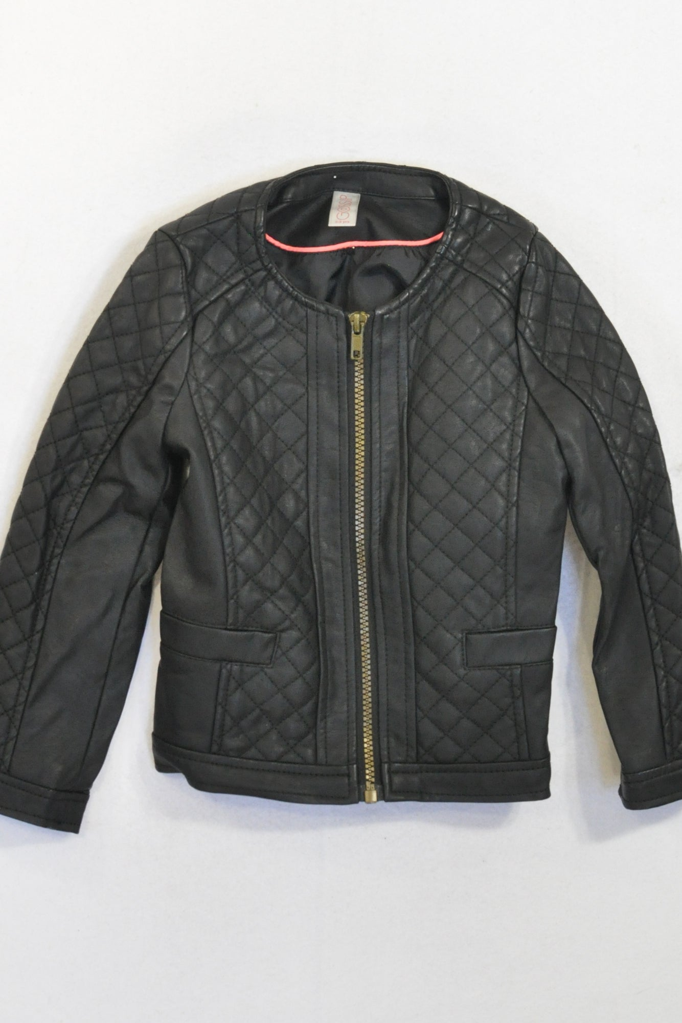 Black Quilted Pleather Jacket Girls 2-3 years – Once More : quilted pleather jacket - Adamdwight.com