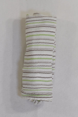 Baby Sense Brown and Green Stripe Muslin Blanket Unisex N-B