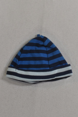 Navy And Light Blue Stripe Beanie Boys 12-18 months