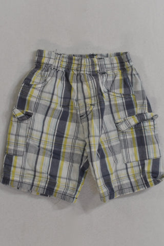 Navy And Yellow Plaid Cotton Shorts Boys 6-12 months