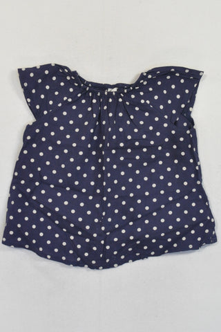 H&M Navy & White Polka Dot Blouse Girls 12-18 months
