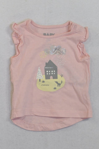 Cotton On Pink Home Frilly T-shirt Girls N-B