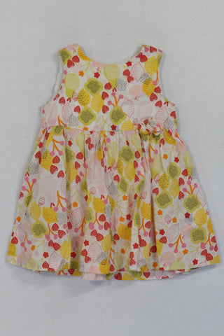H&M White Lemon & Strawberry Pattern Dress Girls 3-6 months
