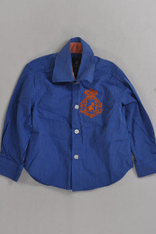 Polo Blue And White Pinstripe Shirt Boys 2-3 years