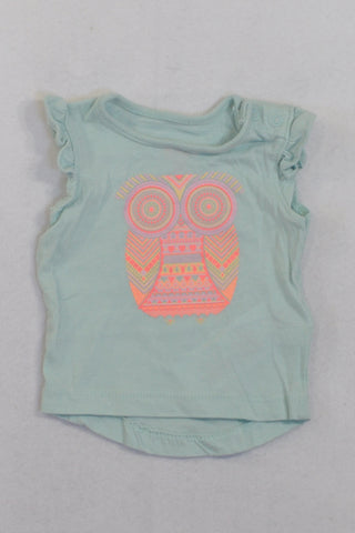 Cotton On Mint Bright Owl T-shirt Girls N-B