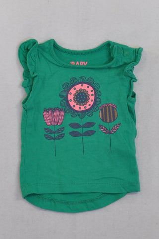 Cotton On Green Bright Flowers T-shirt Girls N-B