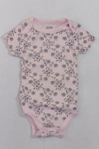 Calvin Klein Pink Rose Baby Grow Girls 6-9 months