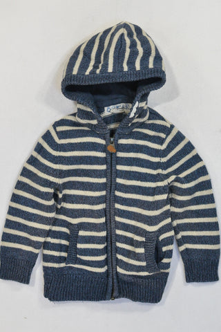 H&M Navy & Beige Knit Zip Jersey Boys 3-4 years