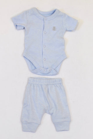 c74f66823f79 New Woolworths Soft Blue Teddy Outfit Boys Tiny Baby