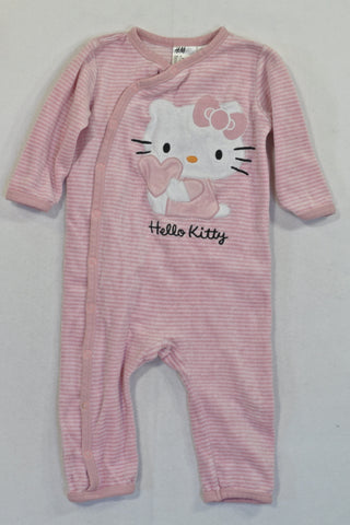 H&M Pink Hello Kitty Velour Onesie Girls 6-9 months