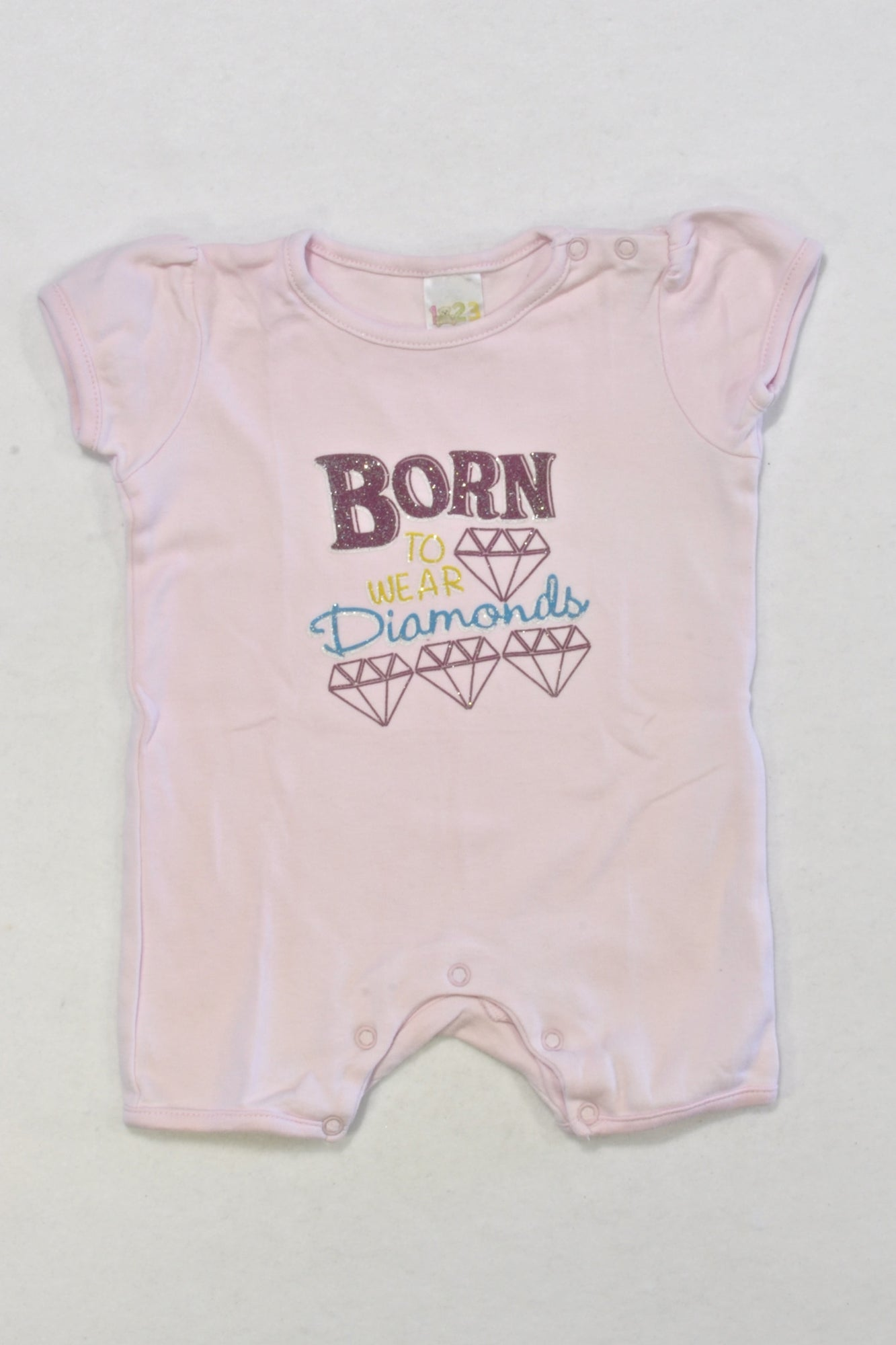 Born to Wear Diamonds Romper Girls 3-6 months