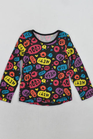 New Woolies Black Quotation Long Sleeve Top Girls 18-24 months