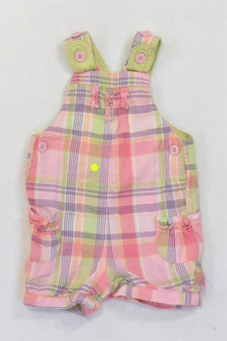 Marks & Spencers Multi Colored Plaid Dungarees Girls 6-9 months