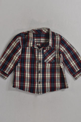 Woolies Navy And Red Plaid Collar Shirt Boys 6-12 months