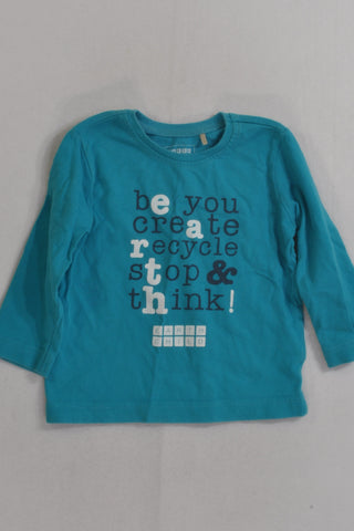 Earth Child Teal Recycle Long Sleeve T-shirt Boys 12-18 months