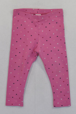 H&M Pink Heart Leggings Girls 9-12 months