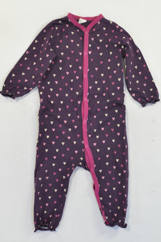 H&M Purple Heart Frilly Elastic Onesie Girls 9-12 months