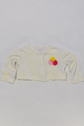 Carters Yellow Dot Cardigan Girls 3-6 months
