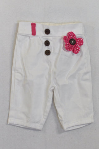 Woolies White & Pink Heart Button Pants Girls 0-3 months