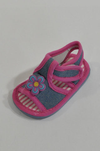Pink Trim Denim Sandals Girls 3-6 months