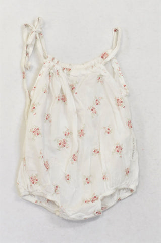 Tic Tac Toe White Floral Tie Romper Girls 0-6 months