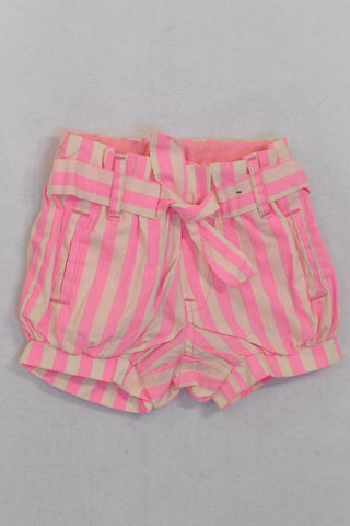 Cotton On Pink Candy Stripe Banded Shorts Girls 0-3 months
