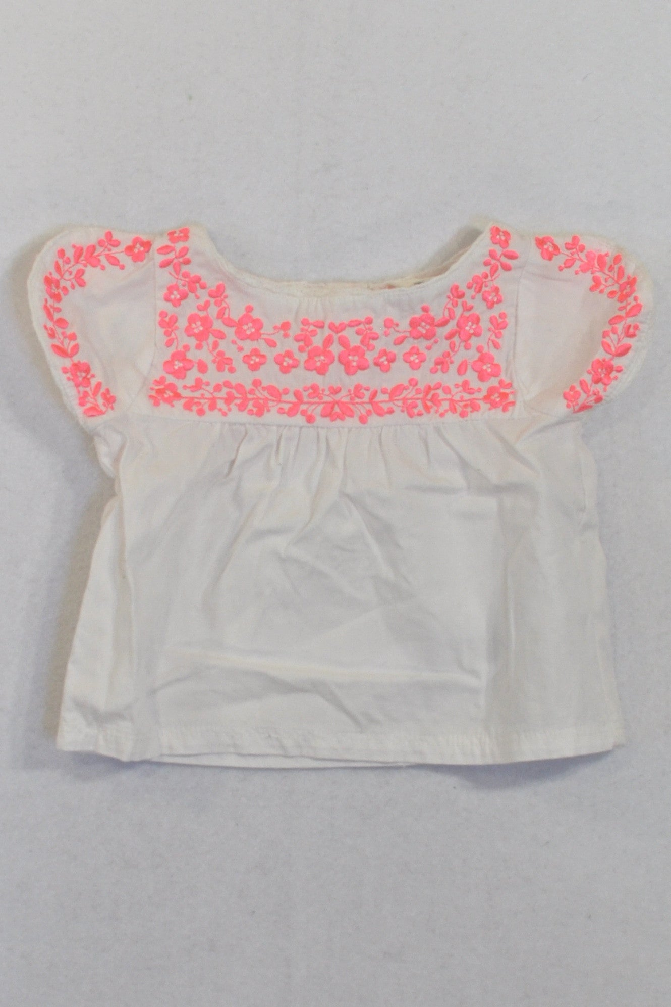 Cotton On White & Bright Pink Embroidered Blouse Girls N-B