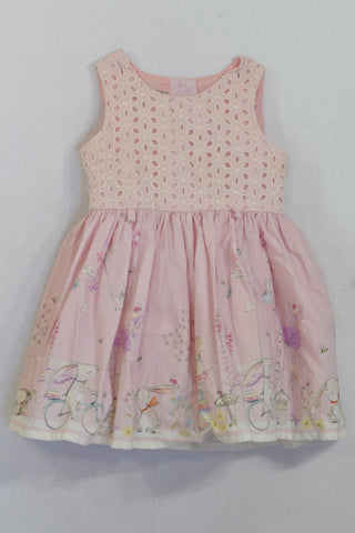 Next Pink Eyelet Lace & Bunny Dress Girls 9-12 months