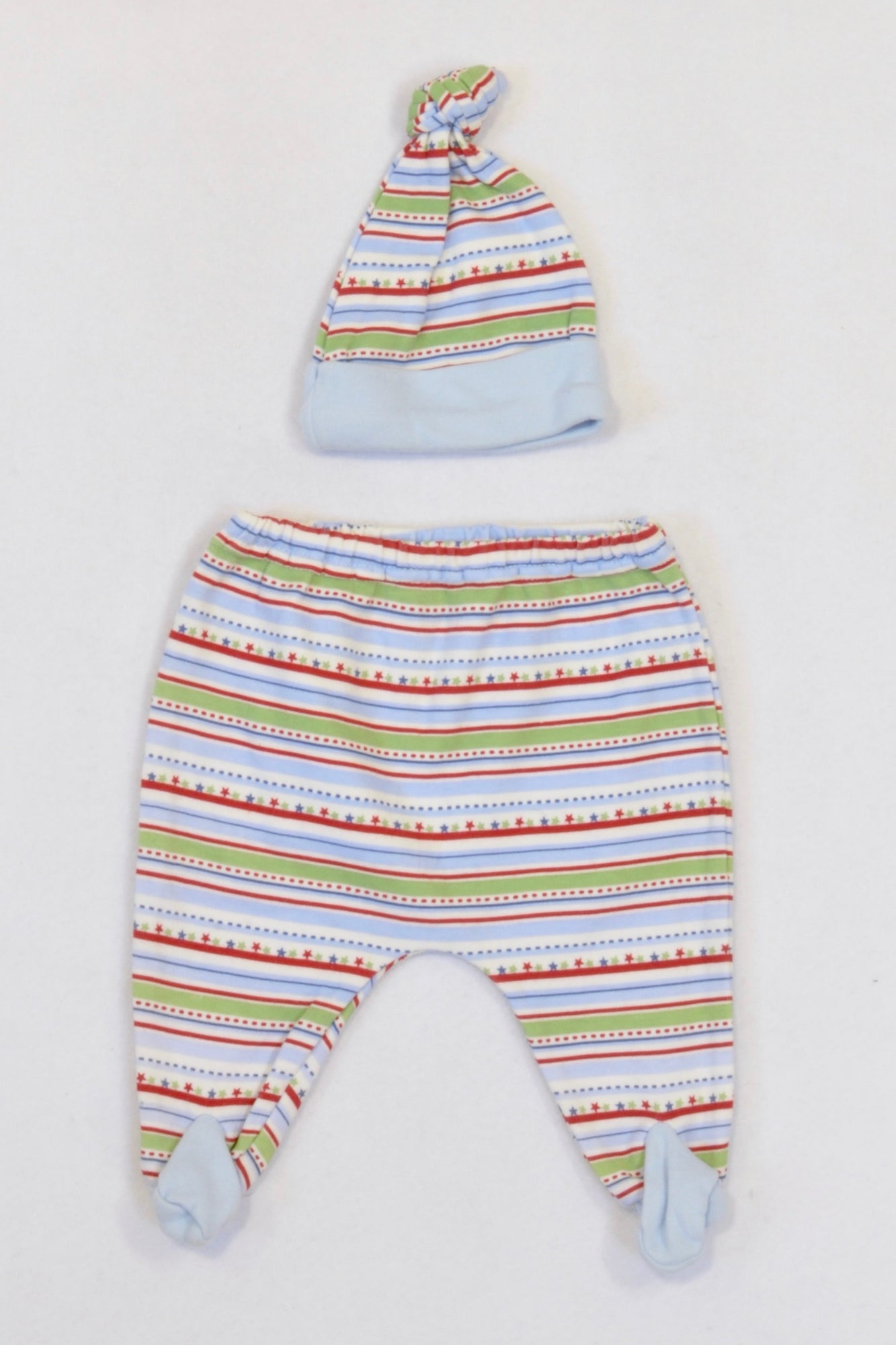 Woolworths Multi Coloured Striped Star Beanie & Leggings Boys N-B