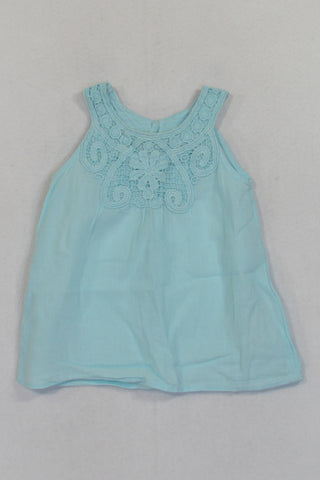 H&M Mint Detailed Lace Neckline Blouse Girls 6-9 months