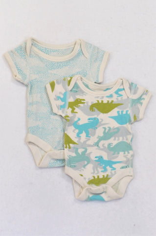 Marks & Spencers 2 Pack Blue & Green Dino Babygrows Boys N-B