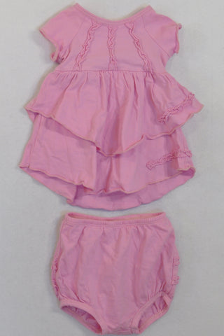 Keedo Pink Frilly Dress & Bloomers  Outfit Girls 0-3 months
