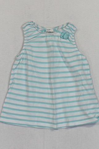 H&M Mint & White Tank Top Girls 9-12 months