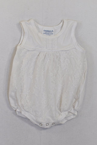 Keedo White Lace Overlay Baby Grow Girls 0-3 months