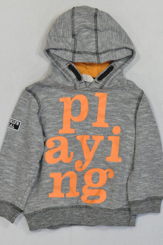 H&M Grey & Orange Playing Hoodie Unisex 3-4 years