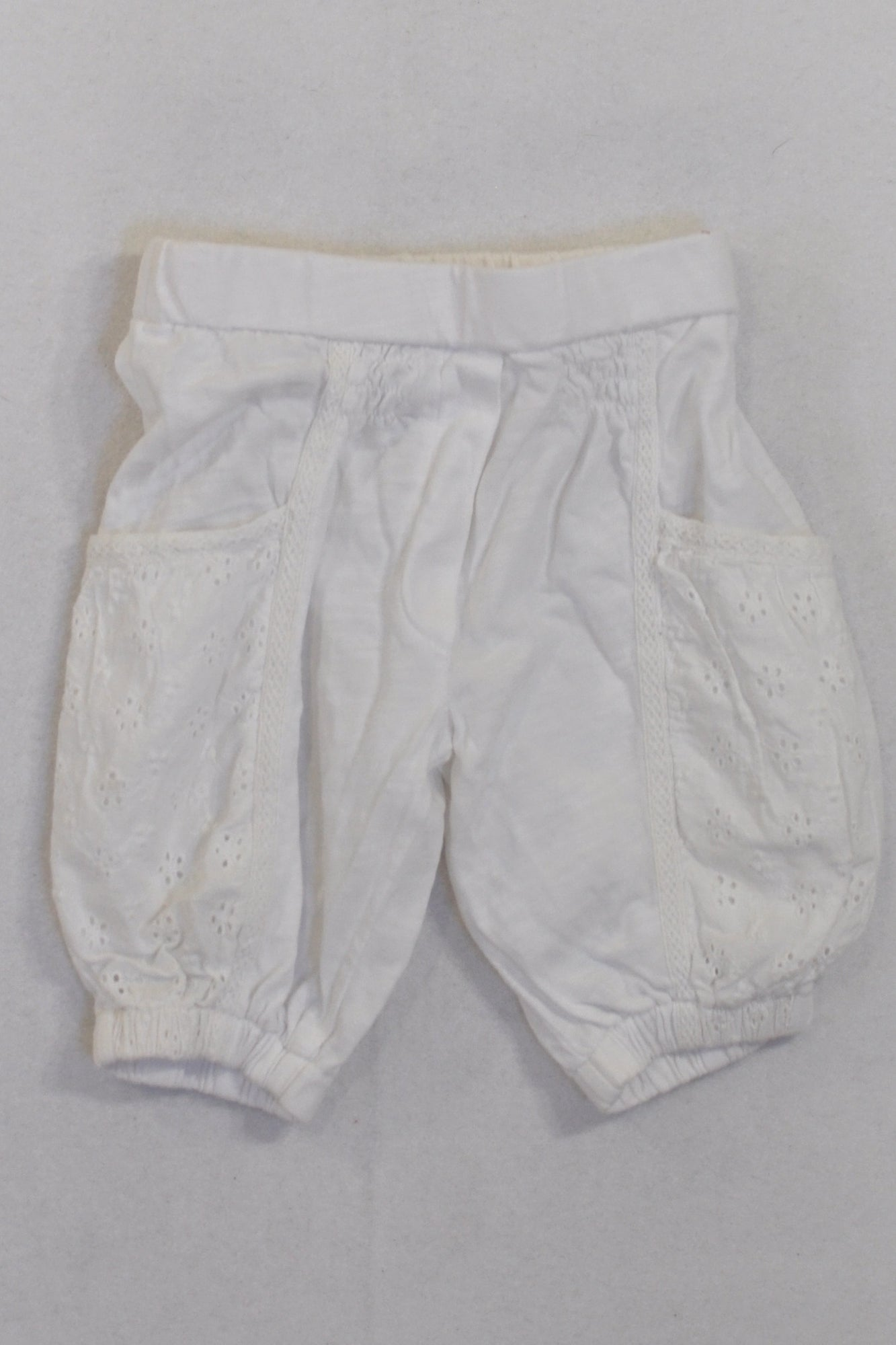 Next White Eyelet Bubble Pants Girls 3-6 months