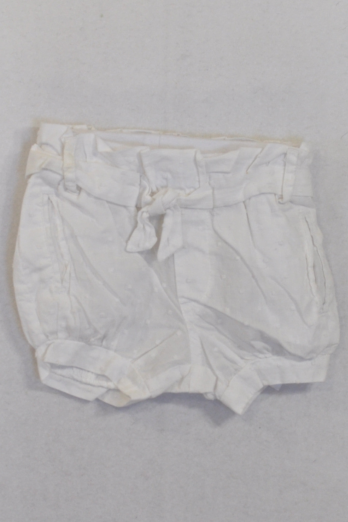 Cotton On White Dotty Banded Bubble Shorts Girls 0-3 months