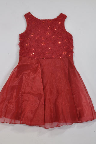 New Red Flower Sequin Organza Dress Girls 8-9 years