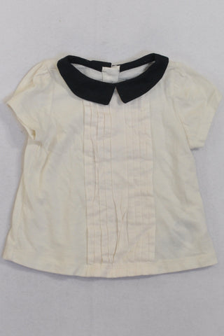 Gap Cream & Black Collar Blouse Girls 3-6 months